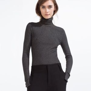 ZARA NWT TURTLENECK RIBBED KNIT GREY SWEATER